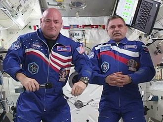Scott Kelly (astronaut) - Kelly and Korniyenko aboard the ISS. (2015)