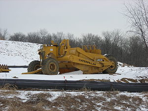 Wheel tractor-scraper - A Caterpillar towed scraper parked up