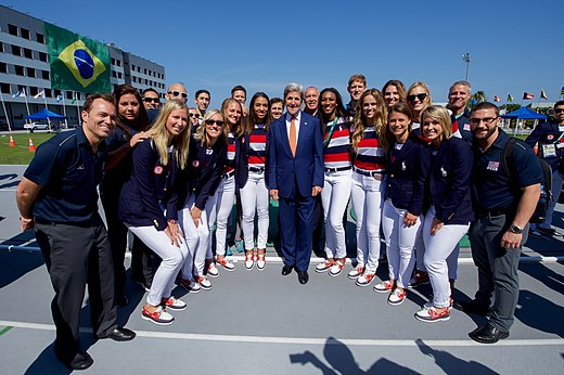 Secretary Kerry Poses for a Photo with Members of the U.S. Volleyball Team at the 2016 Summer Olympics (28791070375).jpg