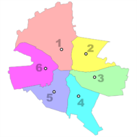 The six administrative sectors of Bucharest