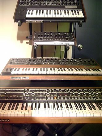 Sequential Circuits - Sequential Circuits products:  Pro-One, Model 700 programmer, Prophet-5, and Prophet T8