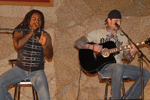 Sevendust performing at Bagram Air Field, Afghanistan Sevendust Afghanistan 1.jpg