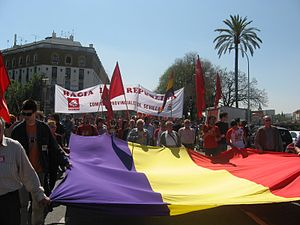 Republicanism in Spain - A republican demonstration, with participation from members of the Communist Party and others, in Seville on April 14, 2006.
