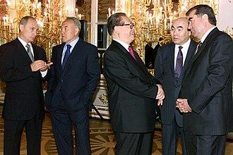 Shanghai Cooperation Organisation - Russian President Vladimir Putin, Kazakh President Nursultan Nazarbayev, Chinese President Jiang Zemin, Kyrgyz President Askar Akayev, and Tajik President Emomali Rahmon, at one time the leaders of the Shanghai Five.