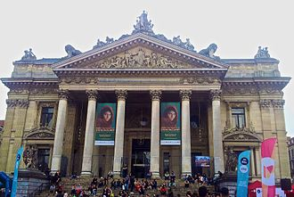 Afghan Girl - The World of Steve McCurry exposition in Palais de la Bourse/Beurspaleis of Brussels in May 2017