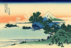 Shichirigahama - Shichirigahama seen from Inamuragasaki in a print by Hokusai, with Enoshima and Mount Fuji in the background