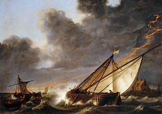 Bateaux sur l'estuaire du Hollands Diep, pris dans un orage