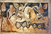 Siedlęcin Wieża Książęca Gotyckie malowidła ścienne Lancelot walczący z Tarquynem.JPG