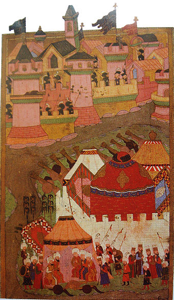 An Ottoman depiction of the siege from the 16th century, housed in the Istanbul Hachette Art Museum SiegeOfViennaByOttomanForces.jpg