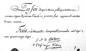 Treaty of Versailles (1787) - Image: Signatures of the 1787 Treaty of Versailles