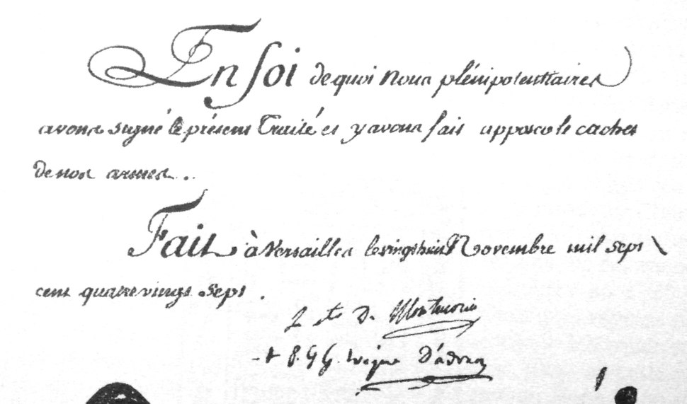 Signatures of the 1787 Treaty of Versailles