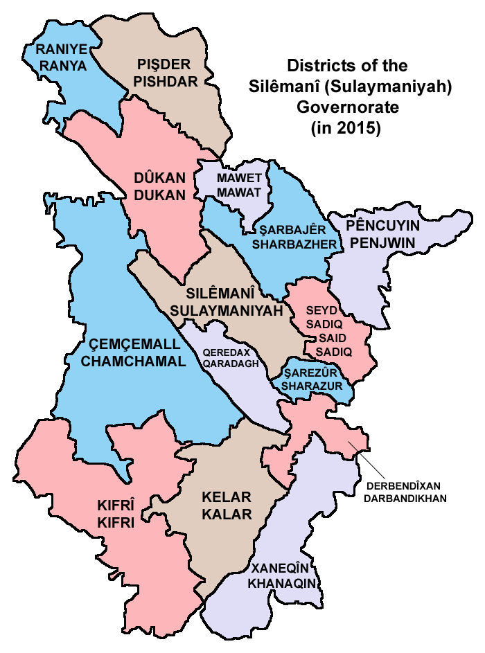 Districts of the Sulaymaniyah Governorate