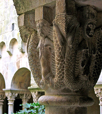 Sant Pere de Galligants - Detail of a capital in the cloister.
