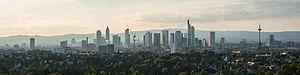 Frankfurt City Forest - Image: Skyline of Frankfurt from Goetheturm on a hazy evening 140827 1