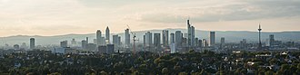 Frankfurt City Forest - Image: Skyline of Frankfurt from Goetheturm on a hazy evening 140827 1