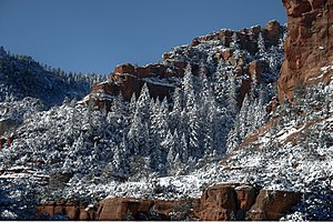 Slide Rock State Park - Slide Rock State Park in snow, 2011.