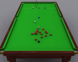 f18489eef6 Mesa de sinuca inglesa durante um jogo.