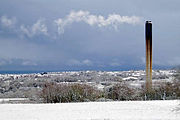 View of Derriford Hospital's incenerator chimney after a snowfall