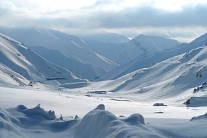 Salang Pass - Image: Snow covered mountains outside of Salang tunnel in Afghanistan