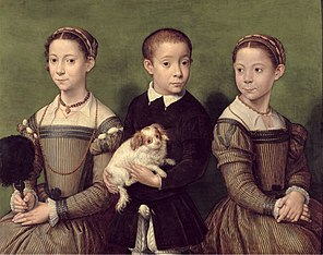 Three children with dog