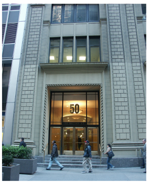 English: The image is 50, Broad Street, New York.