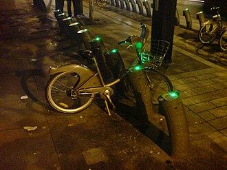 Vélib' - A Vélib bicycle rack with nearly all its bicycles taken.