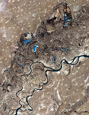 Oxbow lake - The swirls and curves of the previous courses of the  Songhua River in northeast China can easily be seen in this satellite photo