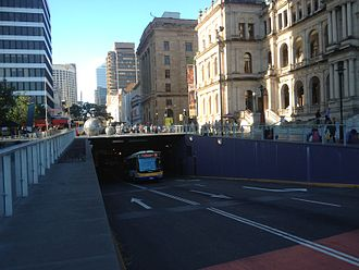 South East Busway - South East Busway tunnel entrance under the Queen Street Mall