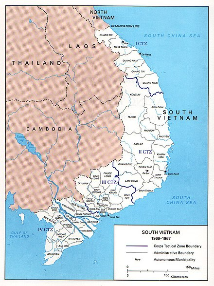 South Vietnam, Military Regions, 1967 South Vietnam Map.jpg