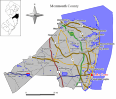 Map of Lake Como in Monmouth County. Inset: Location of Monmouth County highlighted in the State of New Jersey.