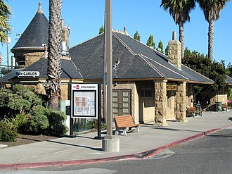 San Carlos station - The Romanesque Revival style building at San Carlos Station, originally built by the Southern Pacific Railroad