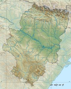 """Mapa konturowa Aragonii, u góry znajduje się punkt z opisem """"Huesca"""""""