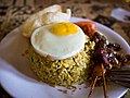 Special fried rice with sunny-side egg and satay; January 2011.jpg