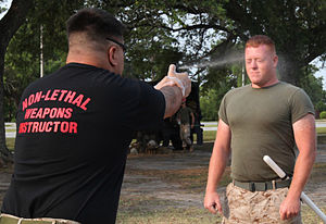 Non-lethal weapon - An instruction on oleoresin capsicum (pepper spray) at a Marine Corps Base Camp.
