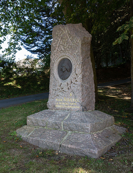 English:  Stele to the french miller and poetress Marie Ravenel in Fermanville (France)
