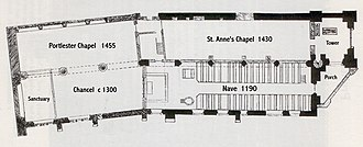 St. Audoen's Church, Dublin (Church of Ireland) - Plan of St. Audoen's drawn up by Thomas Drew in 1866