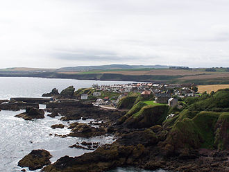 St Abb's Head - The village of St Abbs seen from the southern side of St Abbs Head.
