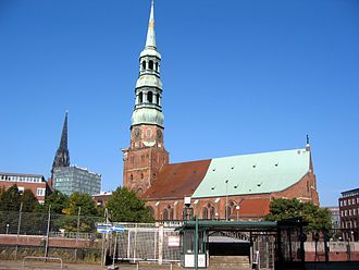 St. Catherine's Church, Hamburg - St. Catherine's Church (spire of St. Nikolai in the background)