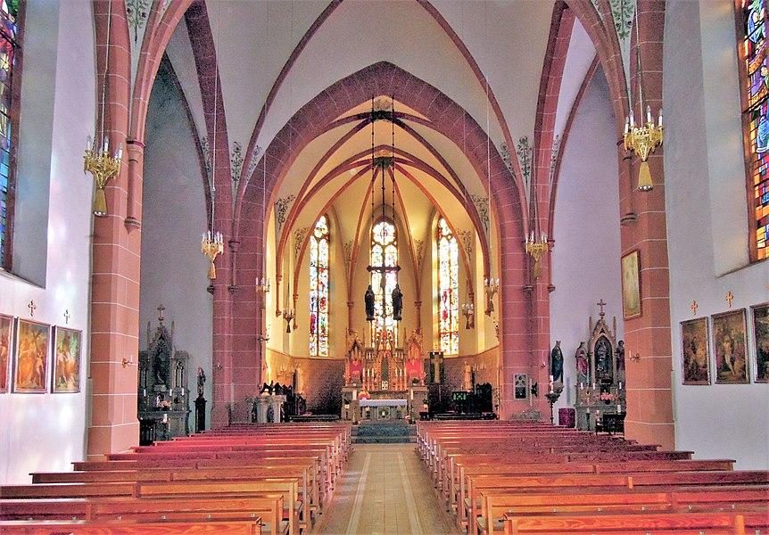 Neunkircher Straße, kath. Pfarrkirche St. Rufus, 1871-73 von Carl Friedrich Müller, Lourdes-Grotte 1890 (Einzeldenkmal)