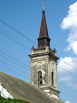 Steeple of the Saint Ferdinand the Bishop Catholic Church, Obrovac, Vojvodina, Serbia - 20060602.jpg