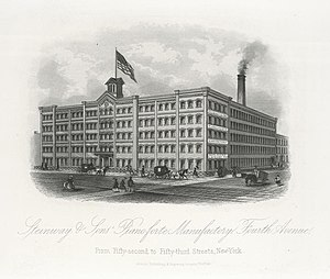 Steinway & Sons - Steinway's factory in Manhattan, New York City, 1876