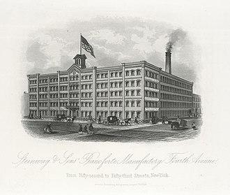 Steinway & Sons - Steinway's factory in Manhattan, New York City, 1876
