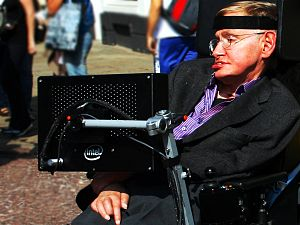 English: Professor Stephen Hawking in Cambridg...