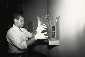 National Museum of African Art - A specialist prepares an exhibit in 1987