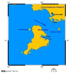 Karte der Stewart-Insel, auf der links Codfish Island zu erkennen ist