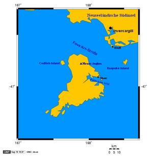 Codfish Island - Map of Stewart Island, with Codfish Island to the west.