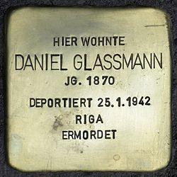 Photo of Daniel Glassmann brass plaque