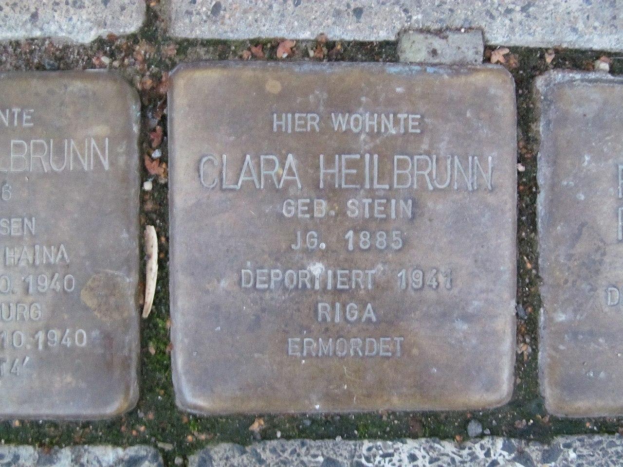 der Stolperstein für Clara Heilbrunn