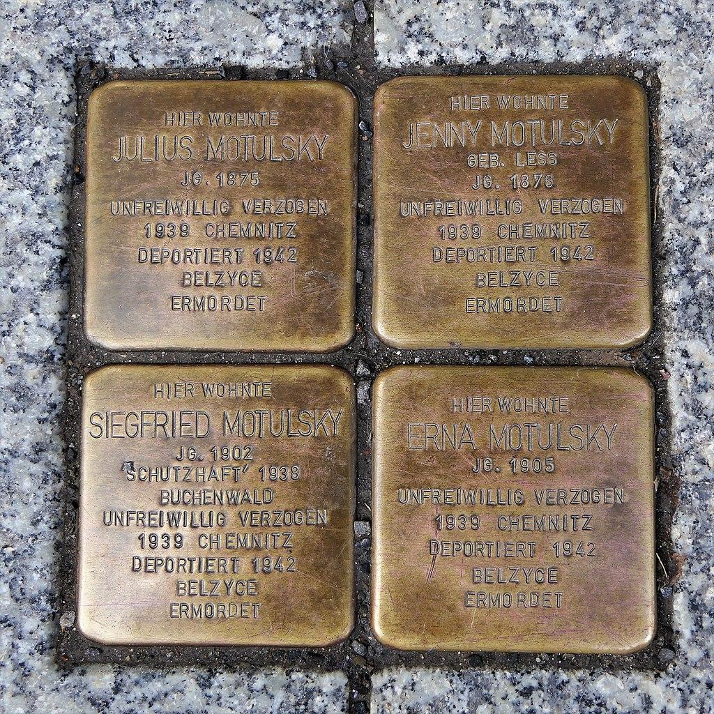 Stolpersteine für Familie Motulsky, Große Kirchgasse 6, Oederan.JPG