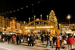 The Striezelmarkt in Dresden.